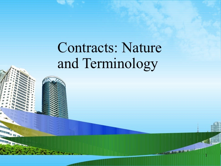 Contracts: Nature  and Terminology