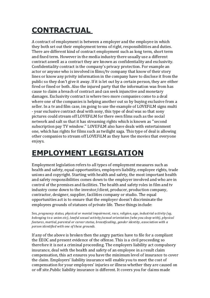 CONTRACTUALA contract of employment is between a employer and the employee in whichthey both set out their employment term...
