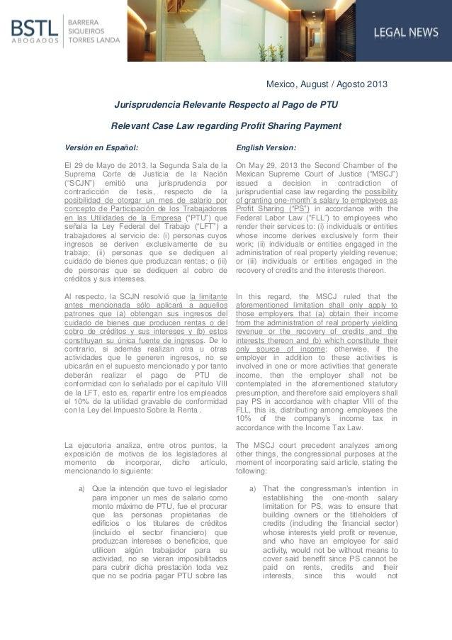 Mexico, August / Agosto 2013 Jurisprudencia Relevante Respecto al Pago de PTU Relevant Case Law regarding Profit Sharing P...