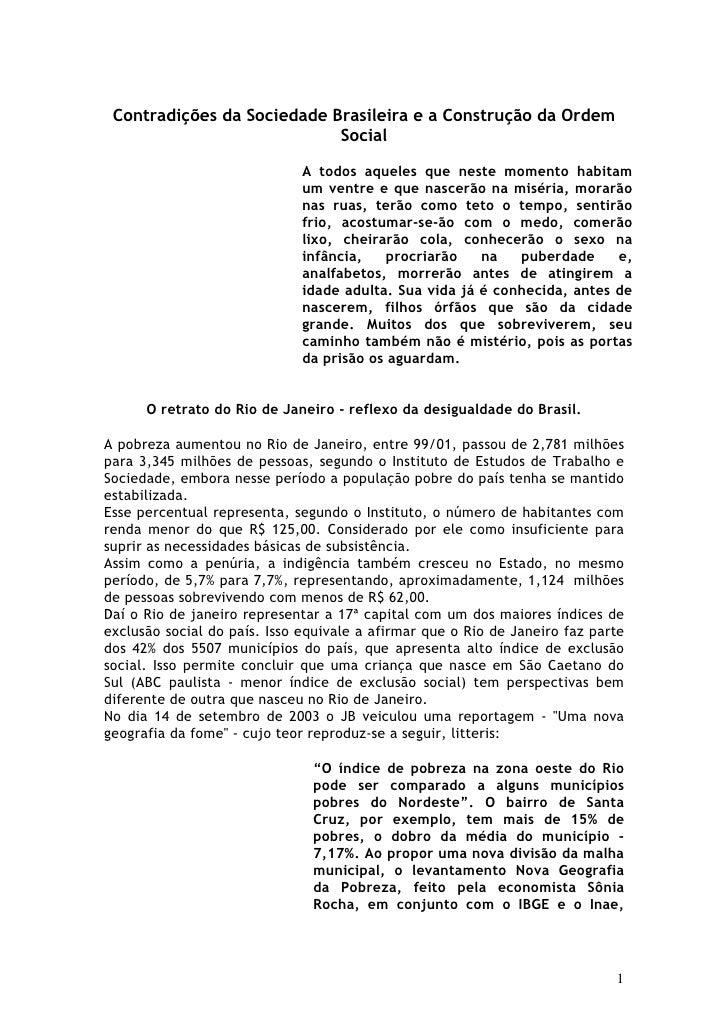 Contradições da Sociedade Brasileira e a Construção da Ordem                             Social                           ...