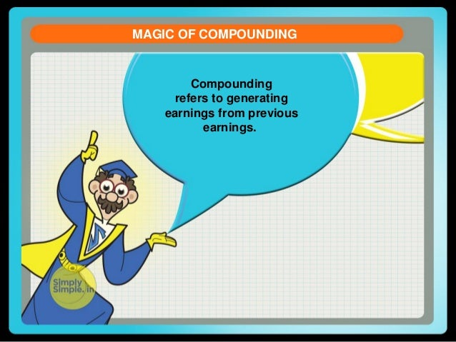 MAGIC OF COMPOUNDING  Compounding refers to generating earnings from previous earnings.