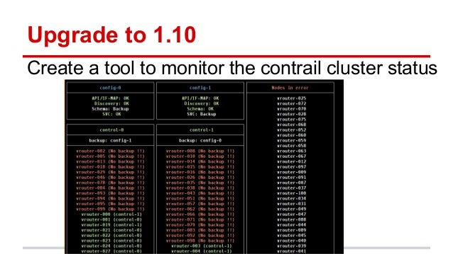 Upgrade to 1.10 Create a tool to monitor the contrail cluster status