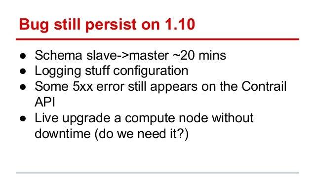 Bug still persist on 1.10 ● Schema slave->master ~20 mins ● Logging stuff configuration ● Some 5xx error still appears on ...