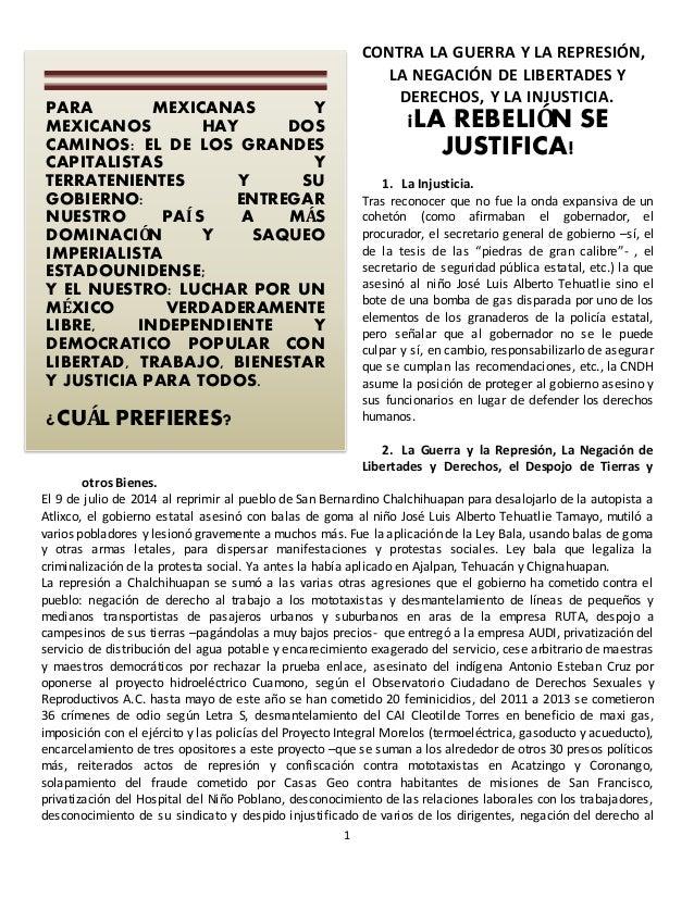 1  CONTRA LA GUERRA Y LA REPRESIÓN,  LA NEGACIÓN DE LIBERTADES Y  DERECHOS, Y LA INJUSTICIA.  ¡LA REBELIÓN SE  JUSTIFICA! ...