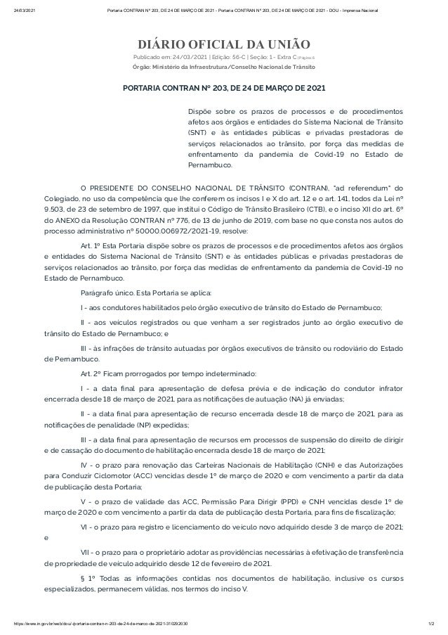 24/03/2021 Portaria CONTRAN Nº 203, DE 24 DE MARÇO DE 2021 - Portaria CONTRAN Nº 203, DE 24 DE MARÇO DE 2021 - DOU - Impre...