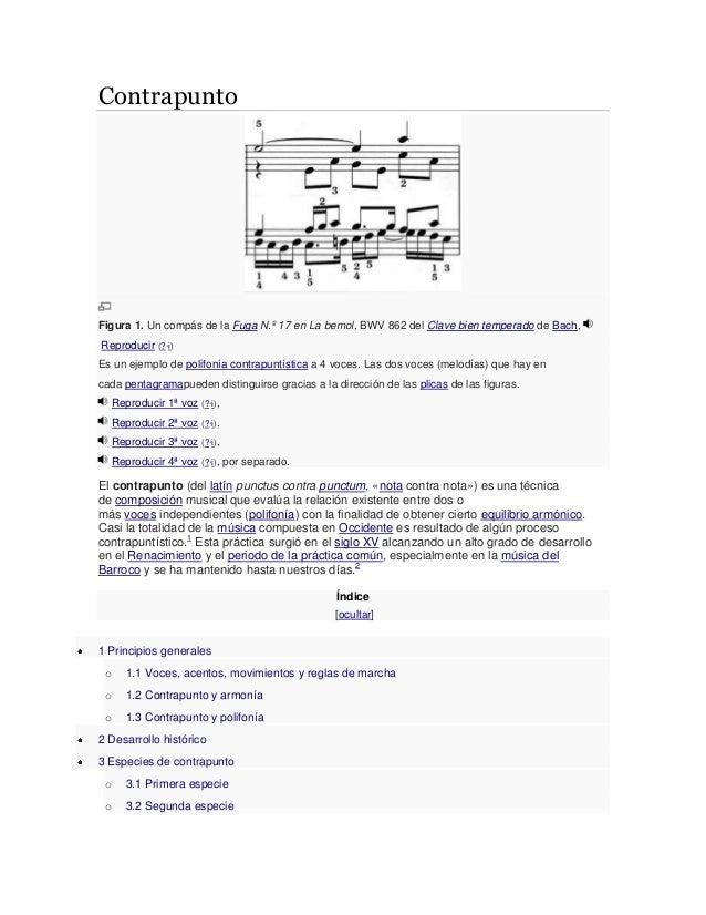 Contrapunto Figura 1. Un compás de la Fuga N.º 17 en La bemol, BWV 862 del Clave bien temperado de Bach, Reproducir (?·i) ...