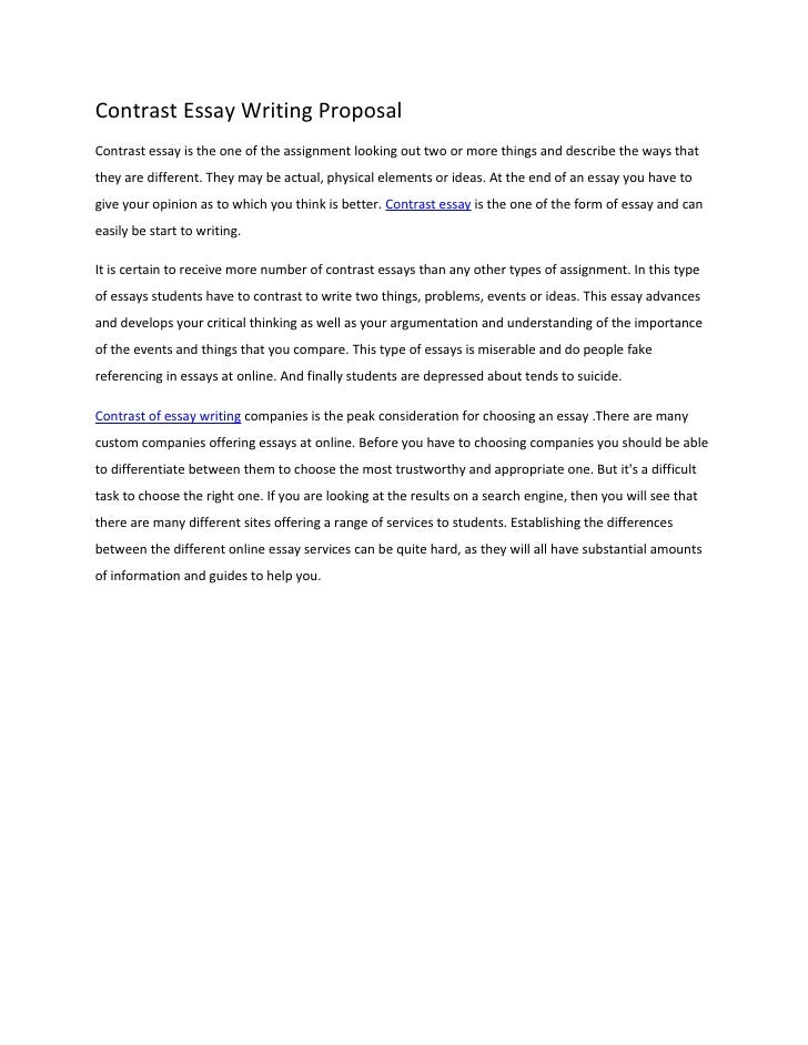 Ideas for a compare and contrast essay
