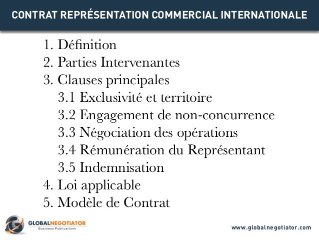 CONTRAT REPRÉSENTATION COMMERCIAL INTERNATIONALE 1. Définition 2. Parties Intervenantes 3. Clauses principales 3.1 Exclusi...