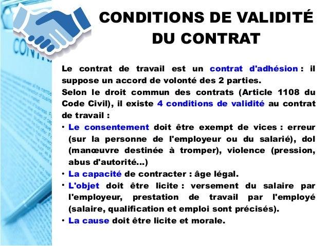 validité d un contrat de travail Conditions De Formation Du Contrat De Travail | sprookjesgrot validité d un contrat de travail