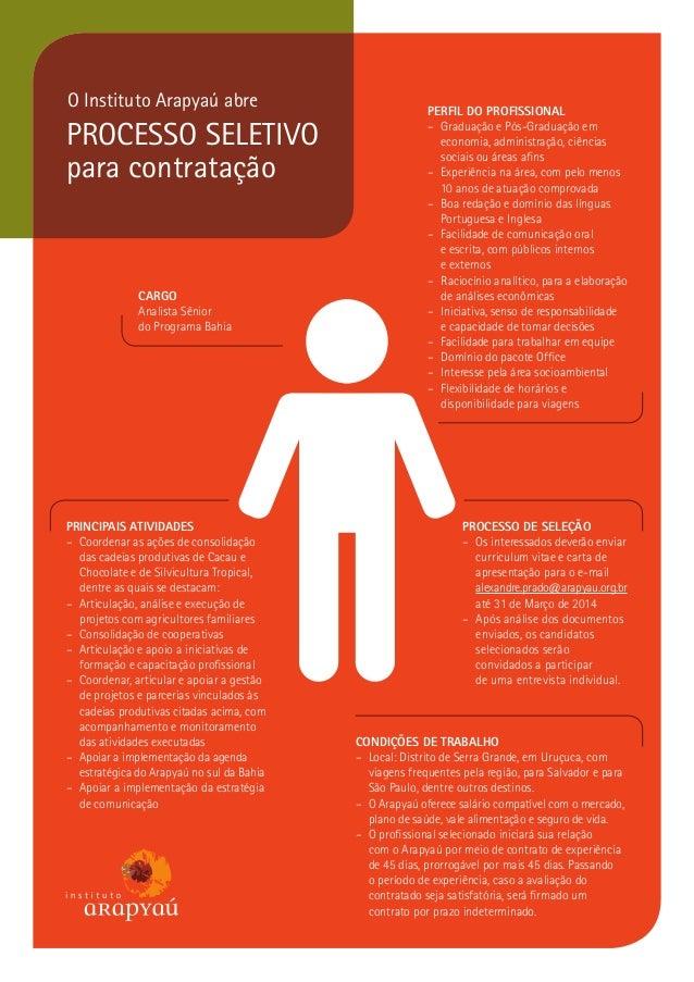 O Instituto Arapyaú abre  PROCESSO SELETIVO para contratação  CARGO Analista Sênior do Programa Bahia  PRINCIPAIS ATIVIDAD...