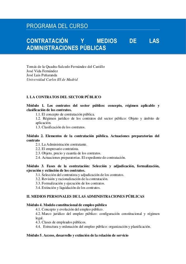 PROGRAMA DEL CURSOCONTRATACIÓN     Y    MEDIOS                                          DE     LASADMINISTRACIONES PÚBLICA...