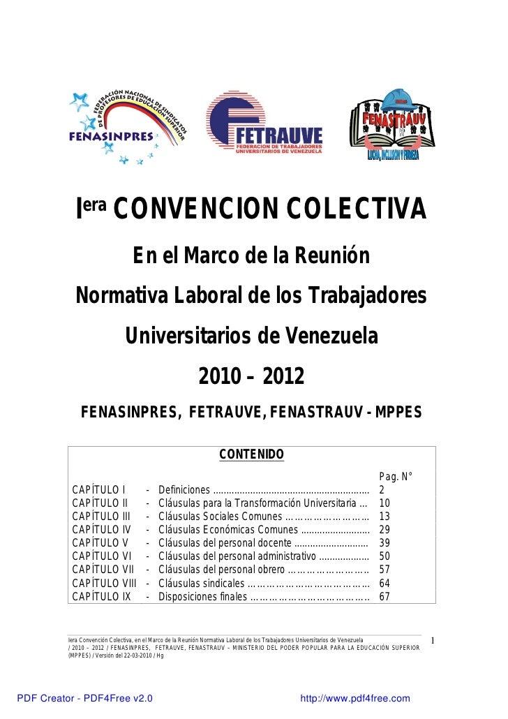 Iera CONVENCION COLECTIVA                                En el Marco de la Reunión             Normativa Laboral de los Tr...