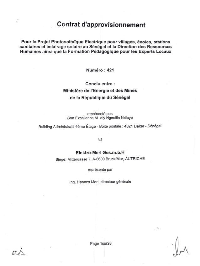 --:,~Contrat dapprovisionnementPour le Projet Photovoltaïque Electrique pour villages, écoles, stationssanitaires et éclai...