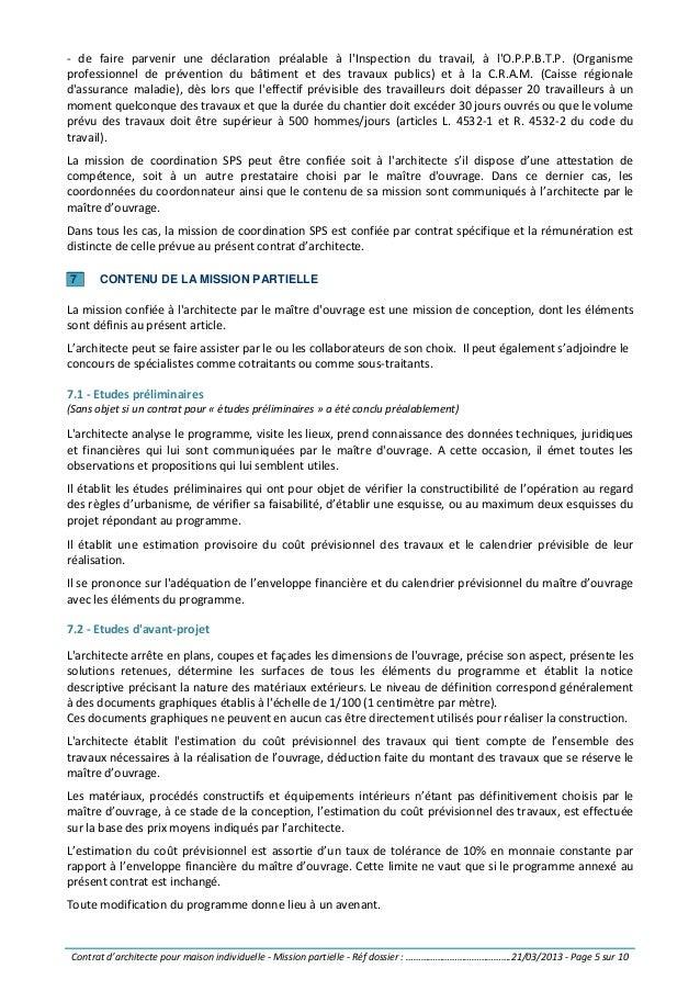 Contrat D Architecte Pour Maison Individuelle Mission Partielle