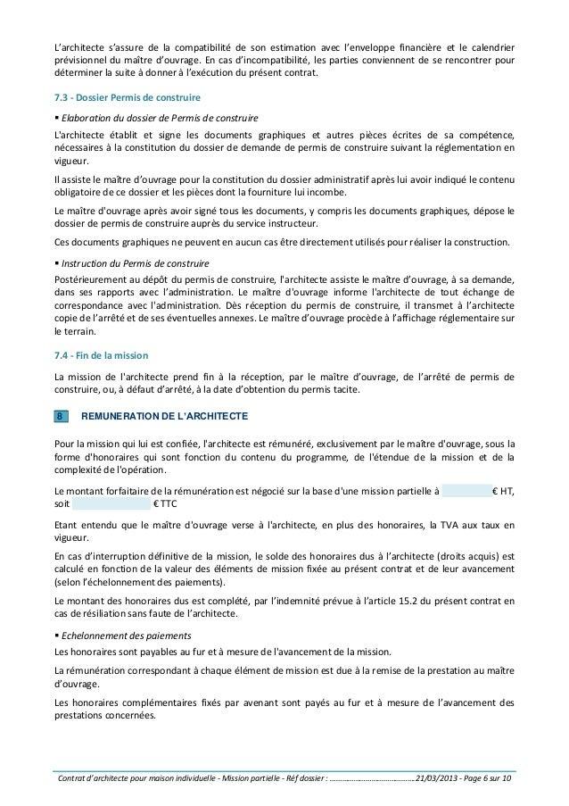 Contrat d 39 architecte pour maison individuelle mission for Diagnostic pour vente maison individuelle