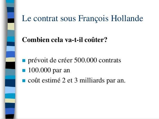 Le contrat sous François HollandeCombien cela va-t-il coûter?   prévoit de créer 500.000 contrats   100.000 par an   co...
