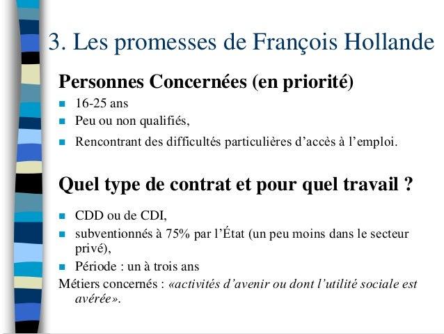 3. Les promesses de François Hollande Personnes Concernées (en priorité)    16-25 ans    Peu ou non qualifiés,    Renco...