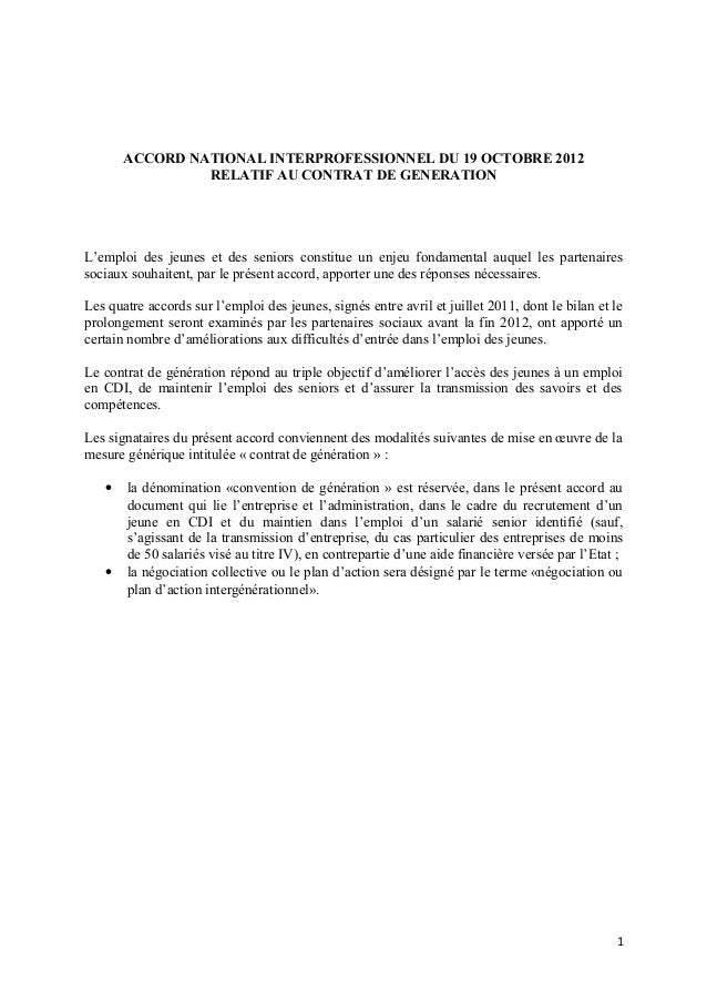 ACCORD NATIONAL INTERPROFESSIONNEL DU 19 OCTOBRE 2012                RELATIF AU CONTRAT DE GENERATIONL'emploi des jeunes e...
