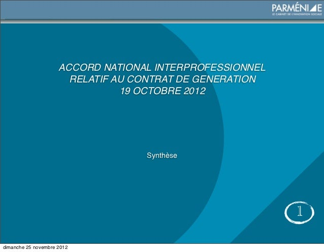 ACCORD NATIONAL INTERPROFESSIONNEL                       RELATIF AU CONTRAT DE GENERATION                                1...