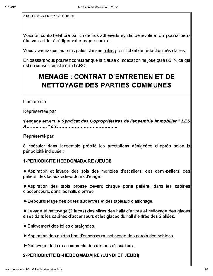 Contrat d'entretien et de nettoyage des parties communes