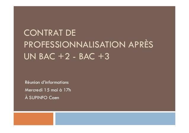 CONTRAT DEPROFESSIONNALISATION APRÈSUN BAC +2 - BAC +3Réunion d'informationsMercredi 15 mai à 17hÀ SUPINFO Caen