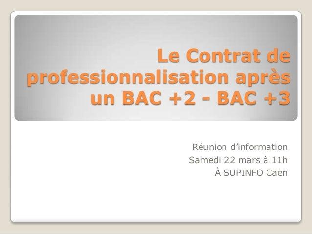 Le Contrat de professionnalisation après un BAC +2 - BAC +3 Réunion d'information Samedi 22 mars à 11h À SUPINFO Caen