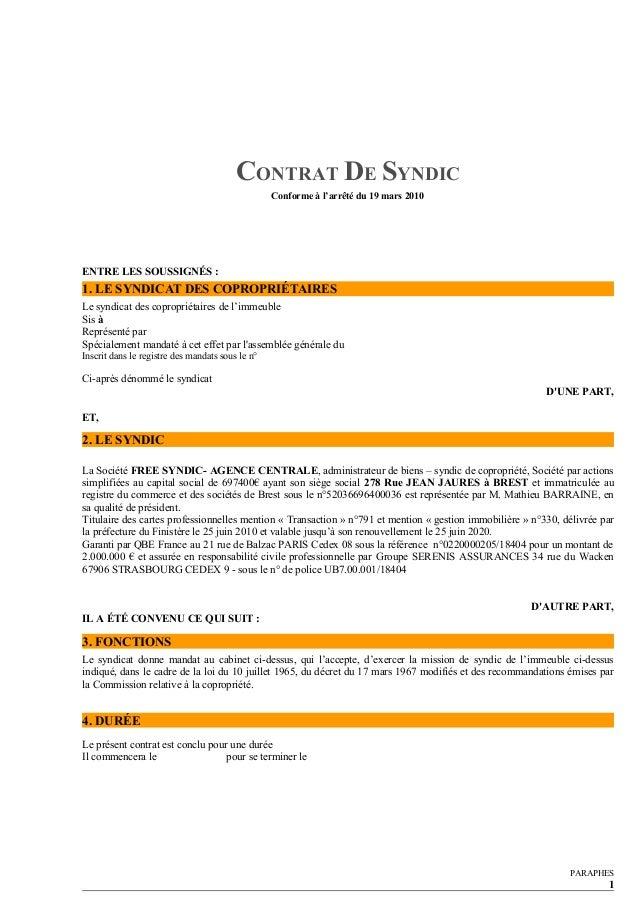 Contrat type de syndic par free syndic - Syndic de l immeuble ...