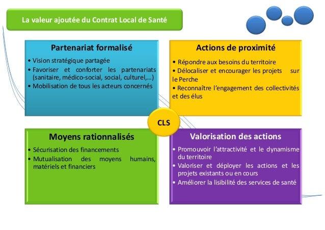 La valeur ajoutée du Contrat Local de Santé  Partenariat formalisé  • Vision stratégique partagée  • Favoriser et conforte...
