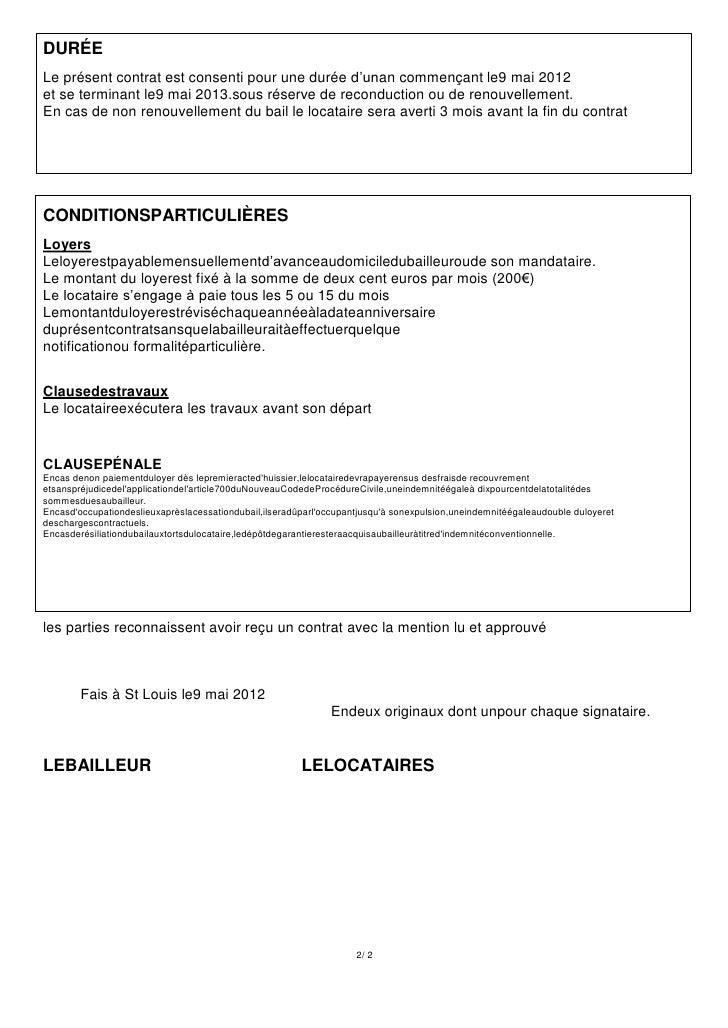 Contrat location vide1 for Bail pour location maison