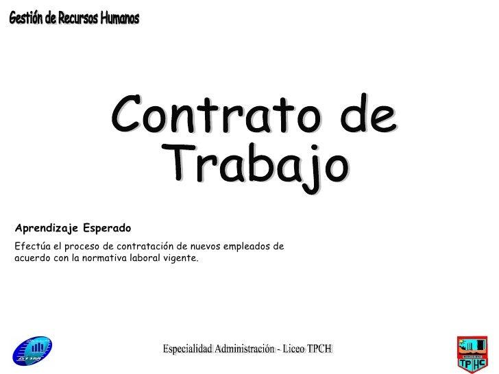 Especialidad Administración - Liceo TPCH Contrato de  Trabajo Gestión de Recursos Humanos Aprendizaje Esperado Efectúa el ...