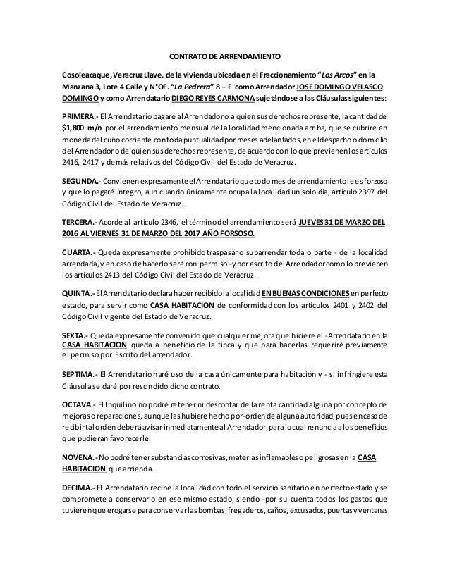 Contrato De Arrendamiento Acorde Al Codigo Civil De Veracruz