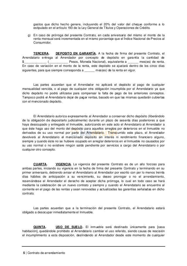 Formato Contrato De Arrendamiento