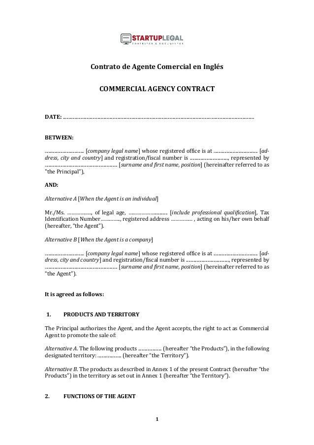 1 Contrato de Agente Comercial en Inglés COMMERCIAL AGENCY CONTRACT DATE: ...................................................