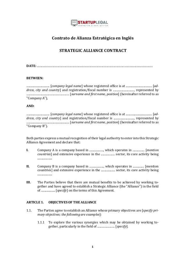 1 Contrato de Alianza Estratégica en Inglés STRATEGIC ALLIANCE CONTRACT DATE: ...............................................