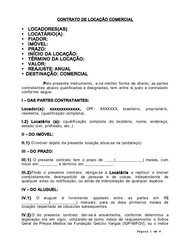 Contrato De Locacao Comercial