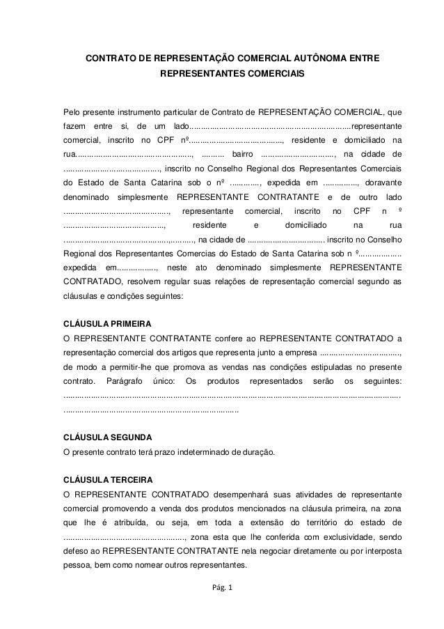 CONTRATO DE REPRESENTAÇÃO COMERCIAL AUTÔNOMA ENTRE REPRESENTANTES COMERCIAIS  Pelo presente instrumento particular de Cont...