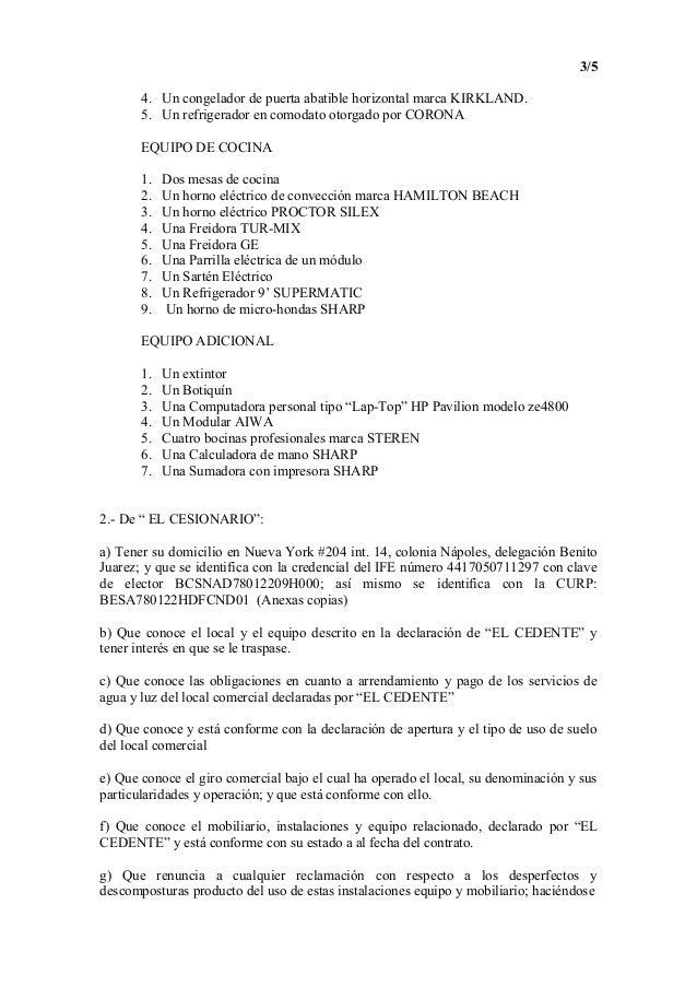 Contrato De Traspaso 1