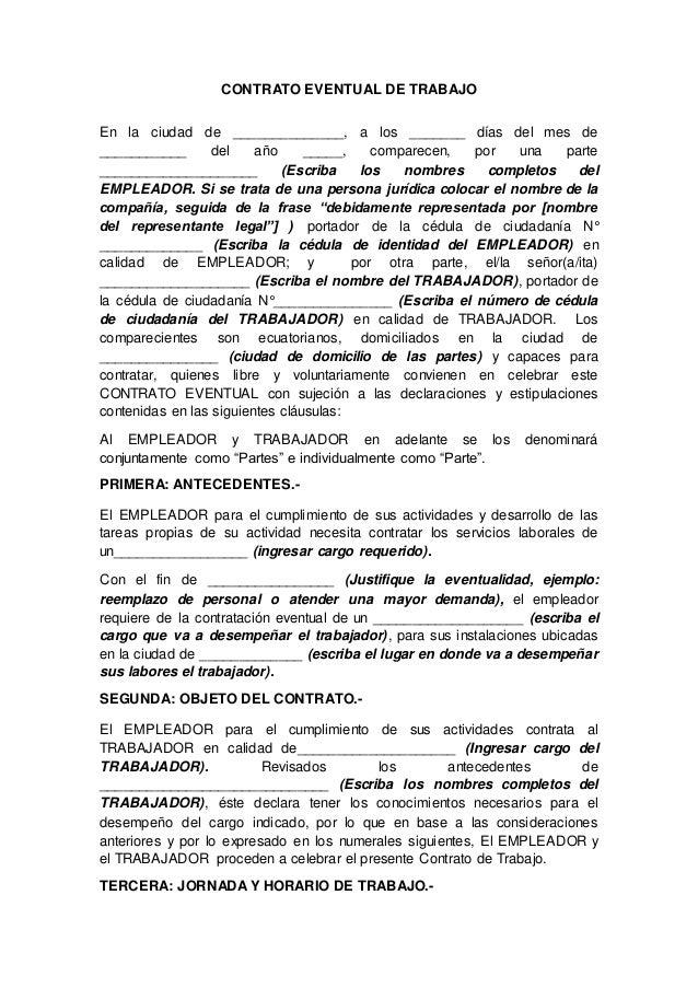 Contrato eventual de trabajo for Contrato indefinido ejemplo