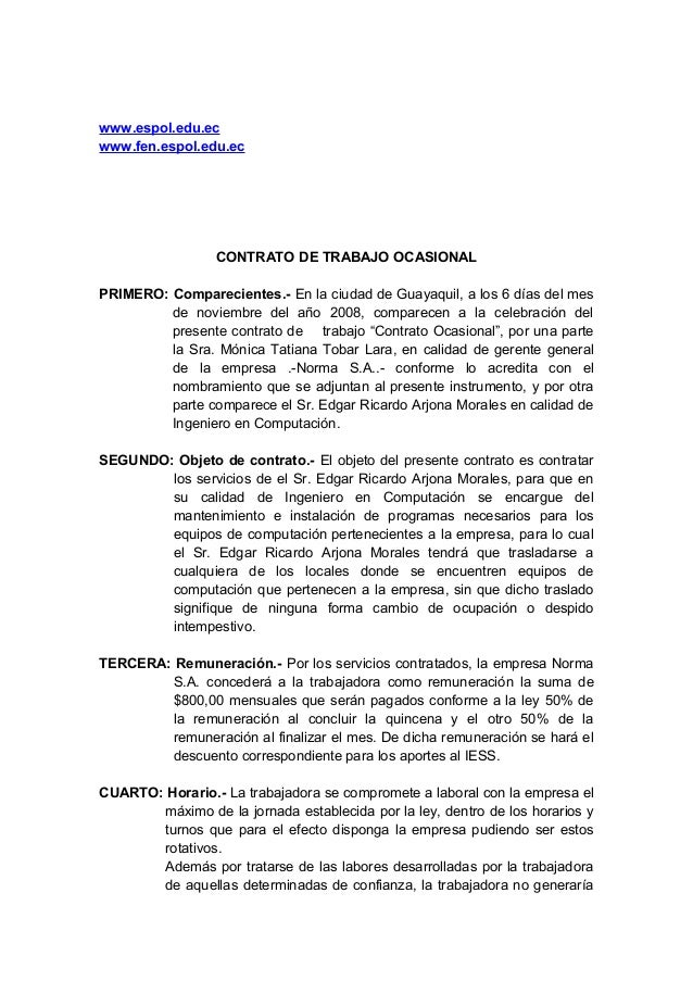 www.espol.edu.ec www.fen.espol.edu.ec CONTRATO DE TRABAJO OCASIONAL PRIMERO: Comparecientes.- En la ciudad de Guayaquil, a...