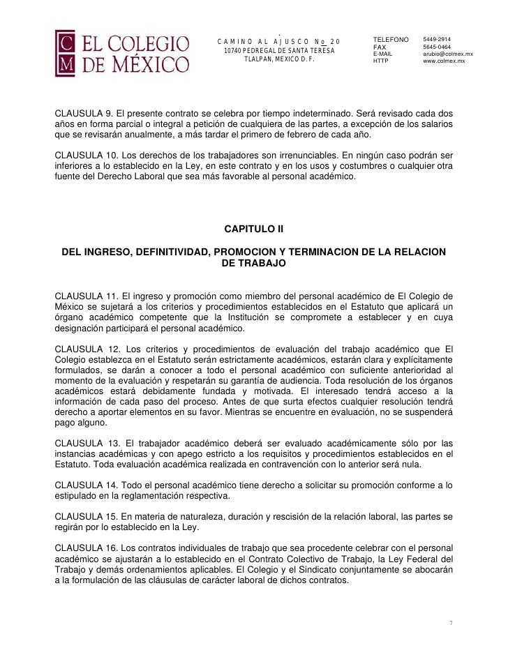 Contrato Colectivo De Trabajo Sindicato De Trabajadores