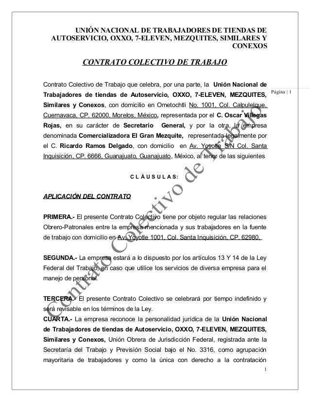 UNIÓN NACIONAL DE TRABAJADORES DE TIENDAS DE  AUTOSERVICIO, OXXO, 7-ELEVEN, MEZQUITES, SIMILARES Y                        ...