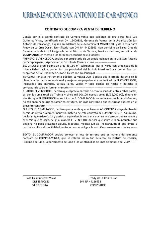 CONTRATO DE COMPRA VENTA DE TERRENOConste por el presente contrato de Compra-Venta que celebran de una parte José LuisGuti...