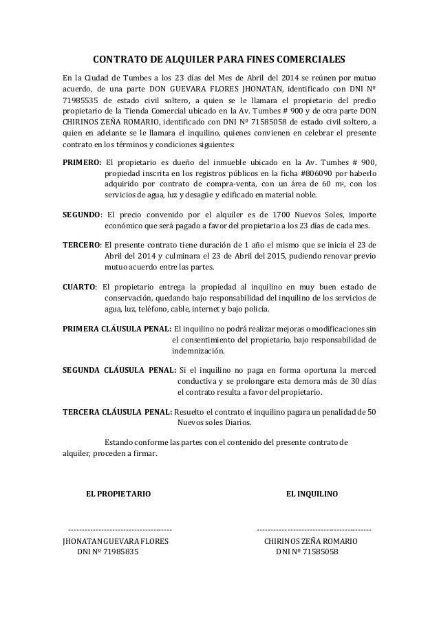 Contrato de alquiler derecho empresarial for Modelo de contrato de alquiler