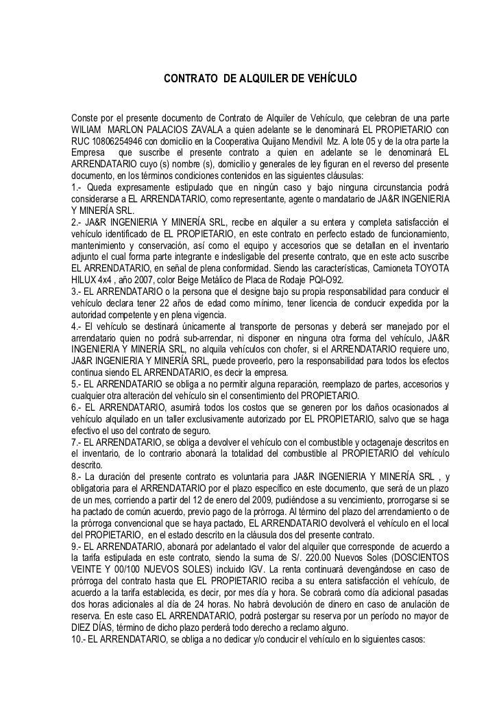 CONTRATO DE ALQUILER DE VEHÍCULO   Conste por el presente documento de Contrato de Alquiler de Vehículo, que celebran de u...