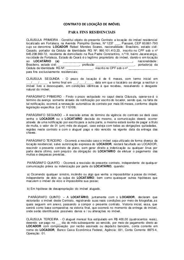 Modelo Contrato De Aluguel