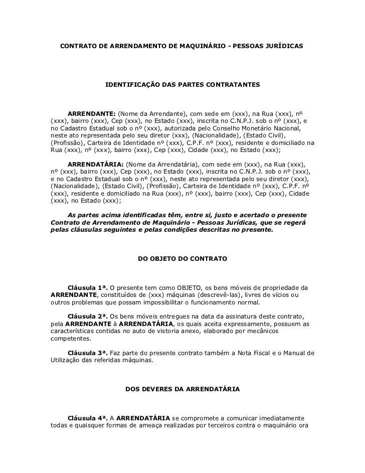 CONTRATO DE ARRENDAMENTO DE MAQUINÁRIO - PESSOAS JURÍDICAS                  IDENTIFICAÇÃO DAS PARTES CONTRATANTES      ARR...