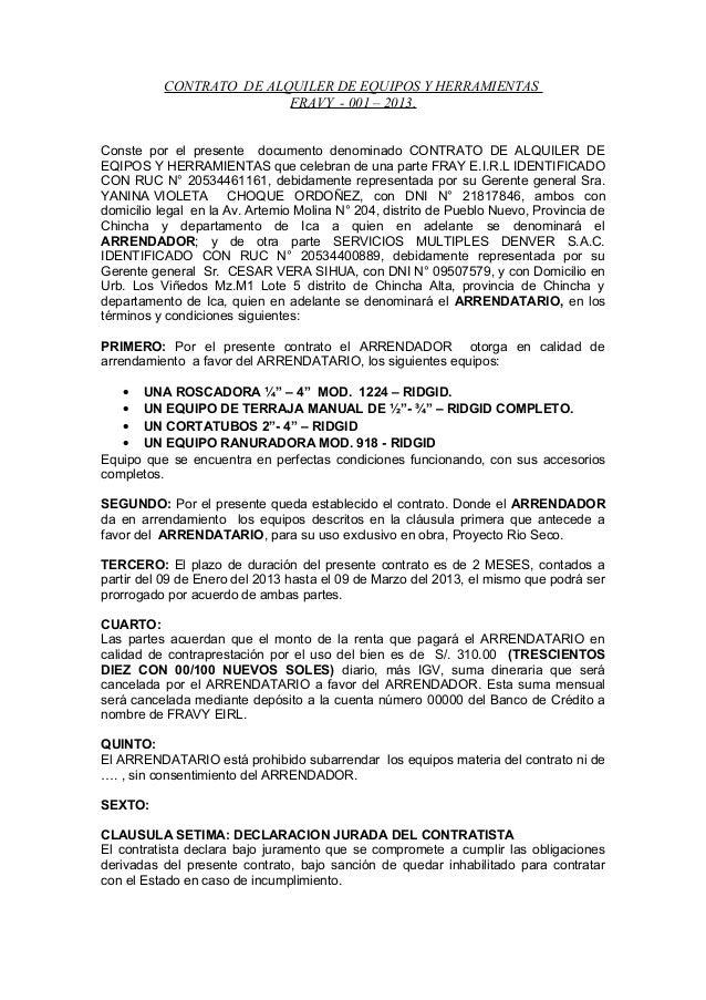 Contrato de arrendamiento de equipos