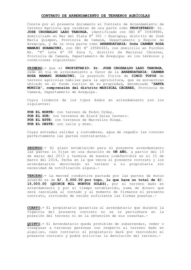 Contrato de arrendamiento de terrenos agr cola1 for Contrato documento