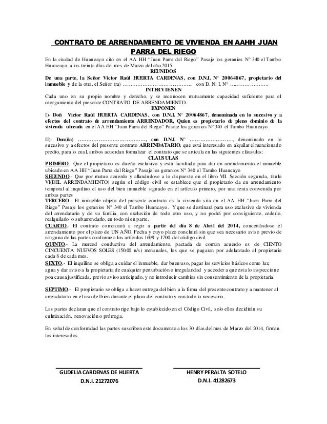 Contrato De Arrendamiento De Vivienda En Aahh Juan Parra