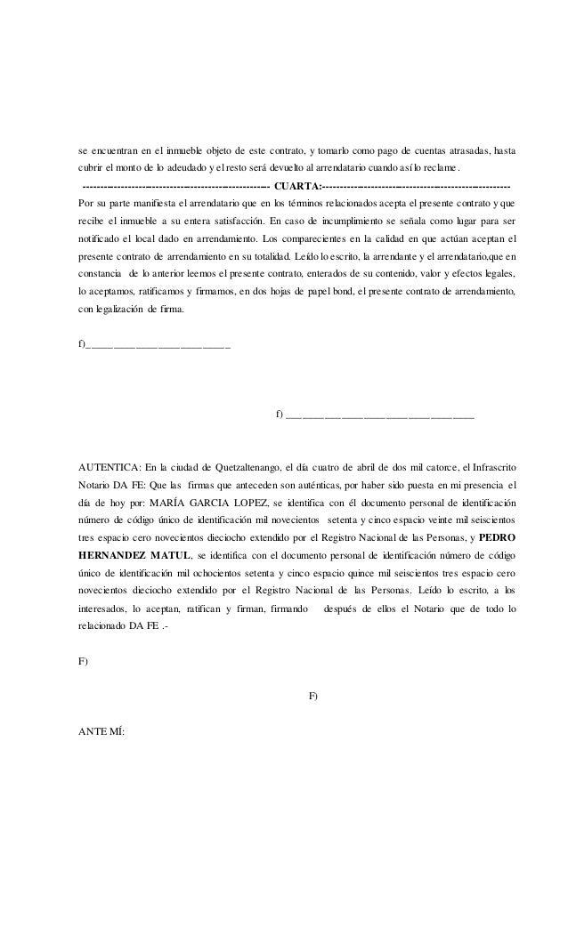 Contrato de arrendamiento en documento privado for Contrato documento